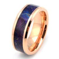 자연 망 여자 8mm 로즈 골드 텅스텐 카바이드 결혼 반지 자주색 및 파란색 상자 노인 나무 컴포트 맞는, 크기 7-11, 절반 크기 포함