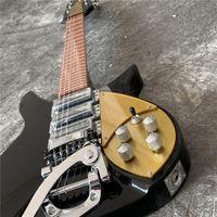 Elektro Gitar Siyah Ricken 325 John Lennon Sınırlı Sayıda 3 Pikaplar Altın Pickguard Çin Özel Rick Jazz Gitar, Elektro Gitar