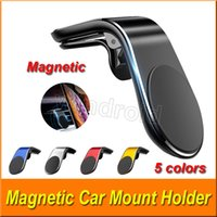 Magnetic Car Phone Holder Mount Stand for iPhone Samsung Huawei L-Type Car Air Vent Mobile for Phone Universal with Retail Package