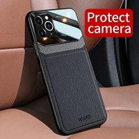 حقيبة جلد فاخرة لiPhone11 برو ماكس كاملة حماية الغطاء الخلفي للحالة فون 11 حالة الهاتف تغطي عدسة الكاميرا حماية