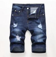 Günstige Men Designer Slim Zerrissene Shorts Distressed Short Jeans Gebleicht Retro Denim Shorts Große Größe 28-42 Hose JB3