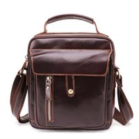 European and American retro new leather men' s bag explo...