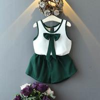 2019 новые летние наряды для девочек детский бутик костюмы детская дизайнерская одежда жилет + банты шорты детские комплекты лучшие костюмы модная детская одежда A3573