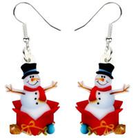 DANNGLE LANDELIER Acrylique Noël Snowman Cadeaux Boucles d'oreilles Drop Dessinoon Année Bijoux pour Femmes Filles Teens Charms Wholesale