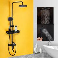 Salle de bain Mélangeur de douche noir de pluie Douche Robinets Set Mitigeur Baignoire Mélangeur de douche Robinet étagère de rangement
