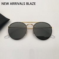 Designer Sonnenbrille Männer Frauen Sonnenbrille Doppelbrücke Blaze Sonnenbrille de Soleil mit schwarzem oder braunem Ledertasche und alles Zubehör !!