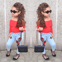 New Baby Girl Off Shoulder Top in velluto + Jeans 2 pezzi Set Oufit Kids Girls Abbigliamento Toddler Fashion Boutique Costume 1-6T