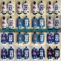 Quebec Nordas Vintage Jerseys 19 Sakic 13 Sundin 26 Stastny 10 Lafleur 22 Marois 21 Forsberg CCM Hockey Jersey