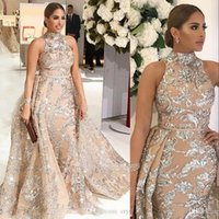 Luxury Plus Size Arabic Mermaid Prom Dresses High Neck Silve...
