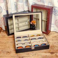 VIVIBEE 8 Storage Black PU Leather Sunglasses Tray Fashion Crocodile Brown Display Case Eyeglasses Carrying Box