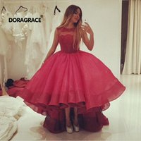 Doragrace Wunderschöne High Low Organza Lace Prom Kleider Red Evening Party Gowns Plus Size