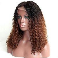Brezilyalı 100% İnsan Saç Peruk # 1BT30 Tam Dantel Peruk Ombre Renk Dantel Ön Peruk Kinky Kıvırcık Bebek Saçlı Ile Koyu Koyu Koyu Kökler