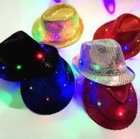 Lentejuelas LED para niños coloridos sombreros de vaquero Jazz fiesta de adultos Niños intermitente Cap fiesta cosplay traje Sombreros 6 colores 150Pcs