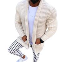 Kış Elbise Sıcak Triko Ceket Cepler Casual Üç boyutlu model Uzun kollu Erkekler Sweatercoat Hırka Sonbahar Örme Triko