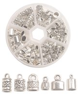 Одна коробка 100PCS Antiqued Silver металлокорд заглушки для кожи искусства
