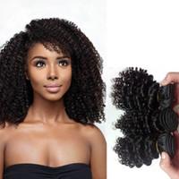 Braziliaanse Vietnam Virgin Menselijk Haar Weefsels 8-12 Inch Haar Inslag Onverwerkte Indische Europese Kinky Krullende Remy Hair Extensions Natural Black