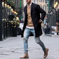 الخريف الشتاء رجل ماركة الصوف يمزج جاكيتات الذكور معطف عارضة الصلبة سليم طوق معاطف طويلة القطن الخندق معاطف الشارع