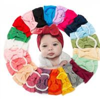 Bambino Hairband del bambino di Bowknot fascia Turbante nappa sfera di nylon per bambini Hairband ragazze Solid Headwear dell'involucro della testa dei capelli fascia degli accessori D10