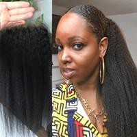 4x4 кружева закрытие лобные предварительно сорванные линии волос 10 ~ 20 дюймов отбеленные узлы монгольский кинтейн прямыми натуральными цветными девственницами человеческие волосы для черных женщин могут быть окрашены