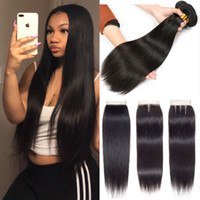 Brazilian virgin hair bundles with closure straight hair ext...