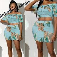 2020 Kadınlar Çiçekli Elbise Etek Seti Kolsuz Off-Omuz Göğüs Wrap Tee + Etekler 2 Adet Clubwear Beachwear Parti Kumaş Eşofman LY401 Tops