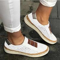 Zapatos Alpargatas mujeres del diseñador de la sandalia Slip-en los holgazanes Mocasines de cuero transpirable señoras de la plataforma de la sandalia Negro Blanco Dropship US10.5
