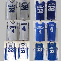 NCAA Hommes Duke Blue Devils Jersey 33 Grant Hill 4 JJ Redick 32 Christian Laettner Blue Blanc Toute couture Collège Basketball Jerseys pas cher