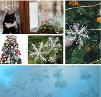 Weiße Schneeflocke-Dekorationen Hängende Schneeflocke Weihnachtsbaumdekorationen für Haus Weddding Partei 6pcs mit Fensteraufkleber DHL-freies Verschiffen