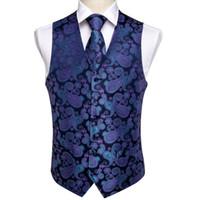 Fast Blue Classic Purple Paisley Silk Jacquard Colete Vest Handkerchief Abotoaduras Partido Wedding o laço veste dos homens do envio Suit Set MJ-0104