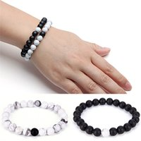 2Pcs White Black 100% Natural Stone Bracelet Couples Distanc...