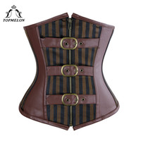 a06d152276 New Arrival. TOPMELON Underbust Leather Bustier Corset Striped Slimming  Corsets Women s Sexy Brown Tops Plus Size Front Zipper Buckles