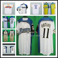Combatientes de la vendimia hombres baratos Hokkaido Nippon-Ham jerseys de béisbol cosido Todos los Deportes camisas de alta calidad libre Amarillo Blanco alternativo