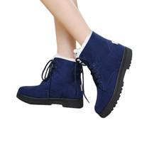 Caldo di vendita-donne moda inverno caldo pile Snow Boots Nice New Suede Lace Up piatto Stivali plus Stivali Dimensione Sport