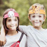 Partido PET Máscara protetor facial Adorável Kid desenhos animados Máscaras de protecção transparente contra pó Anti-Fog Full Face Escudo Anti poeira à prova de vento XHH9-3096