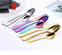 Creative Stainless Steel Colorful Cutlery Set Rainbow Dinner...