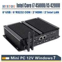Lüfterloser industrieller Mini-PC Core i3 4010u Windows 7 10 Core i7 4500U 2 * Intel Lan 6 RS232 COM i5 Computer 2 HDMI HD 4k HTPC