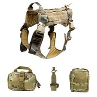 Tactical K9 Service Dog Modular Harness Patrol Dog Vest Hunting Molle Vests With Pouches Bag And Water Bottle Carrier Bag