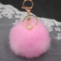 Hot sale Keychain Soft Fur Ball Lovely Gold Metal Key Chains...