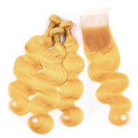 Gelbes Haar Bundles mit Schnürverschluss Peruanische Jungfrau Menschenhaarverlängerung Schussfäden 3 Bundles Angebote Körperwelle Wellenförmig Mit 4x4 Schnürverschluss