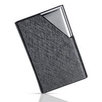 حامل بطاقة تعريف المهنة بطاقة الأعمال الفولاذ المقاوم للصدأ وبو الجلود بطاقة اسم تنظيم حالة للرجال والنساء-أسود