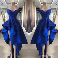 Royal Blue High Low Prom Cocktail Dresses Real Image A Line Beaded Appliques Sweetheart Asimmetrici Abiti ornamenti lunghi