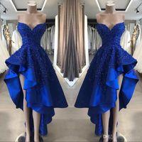 Royal Blue High Low Prom Cocktailkleider Echtes Bild Eine Linie Perlen Appliques Schatz Asymmetrische lange Gastgeber Kleider