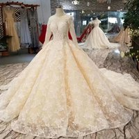 Lace Ball Gown Wedding Dress Champagne O- Neck Long Tulle Sle...