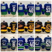 2019/20 Fliegen Skate Schwarz 50. Vancouver Canucks Hockey Jerseys 40 Elias Pettersson 53 Bo Horvat 6 Brock Boeser Startseite Blaue genähtes Trikots
