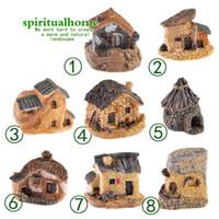 Sevimli Mini Taş Evi Peri Bahçe Minyatür Zanaat Mikro Cottage Peyzaj Dekorasyon DIY Reçine El Sanatları Için 8 Stilleri DLH111