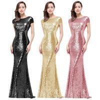 Svart champagne guld brudtärna klänningar paljetter prom klänning full sequined kväll lång klänning för bröllopsfest cowl back boll kappor