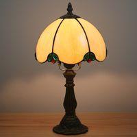 8 pollici tavolo da letto in tavola europea camera da letto lampada da comodino retrò retrò minimalista bar sala da pranzo leggero lampada da tavolo in vetro macchiato lampada anticata in lega di resina antica