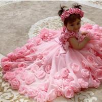 Rosa barato flor menina vestidos feitos mão flores tule menina vestidos de casamento barato comunhão concurso vestidos vestidos f168