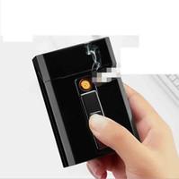 Neueste USB Elektronische Zigarettenkiste Box Aufbewahrung mit Feuerzeug 20pcs Zigaretten Holding-Ladungsgradgets 8 Farbmagnetschalter