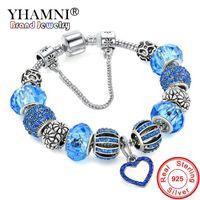 Bracciale rigido YHAMNI originale in argento 925 blu massiccio con amore e fiori perline di cristallo braccialetto di sicurezza per le donne HB00156